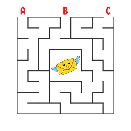 Square maze. Game for kids. Puzzle for children. Cartoon character envelope. Labyrinth conundrum. Color vector illustration. Find the right path. The development of logical and spatial thinking. Vettoriali
