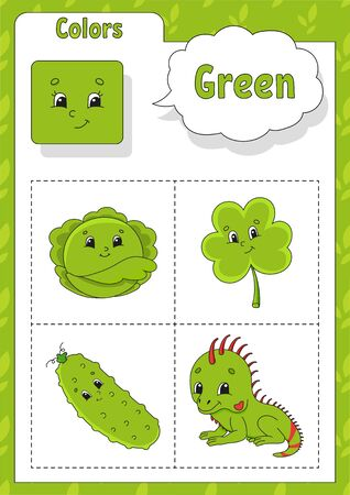 Learning colors. Green color. Flashcard for kids. Cute cartoon characters. Picture set for preschoolers. Education worksheet. Vector illustration.