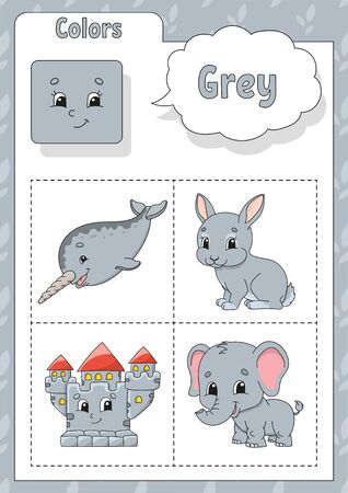 Learning colors. Grey color. Flashcard for kids. Cute cartoon characters. Picture set for preschoolers. Education worksheet. Vector illustration. Иллюстрация