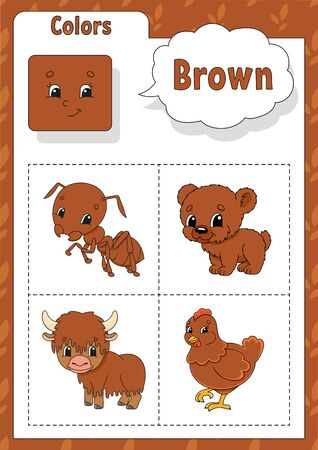 Learning colors. Brown color. Flashcard for kids. Cute cartoon characters. Picture set for preschoolers. Education worksheet. Vector illustration.