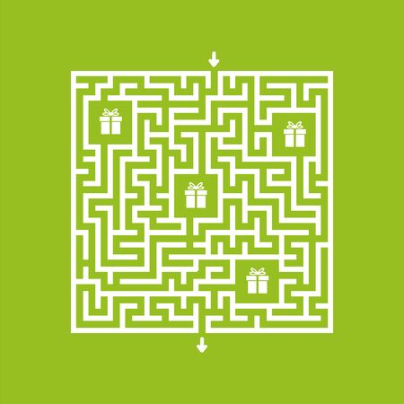 Abstact labyrinth. Game for kids. Puzzle for children. Maze conundrum. Find the right path. Color vector illustration. Vettoriali