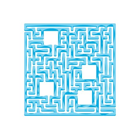 Abstact labyrinth. Game for kids. Puzzle for children. Maze conundrum. Find the right path. Color vector illustration. Çizim
