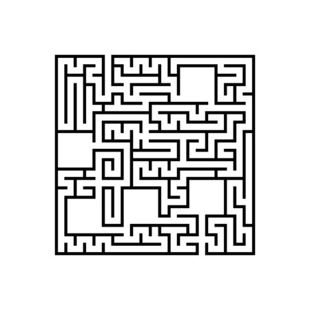 Abstact square labyrinth. Educational game for kids. Puzzle for children. Maze conundrum. Find the right path. Vector illustration. Vettoriali