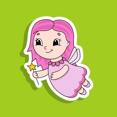 Fairy young girl in a dress with wings and a magic wand. Bright color sticker. Cartoon character. Vector illustration. Design element. With white contour. Illustration