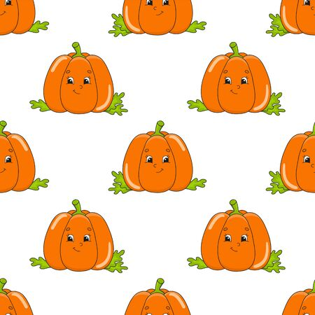 Colored cartoon seamless pattern. Vegetable pumpkin. Cartoon style. Hand drawn. Vector illustration isolated on white background.