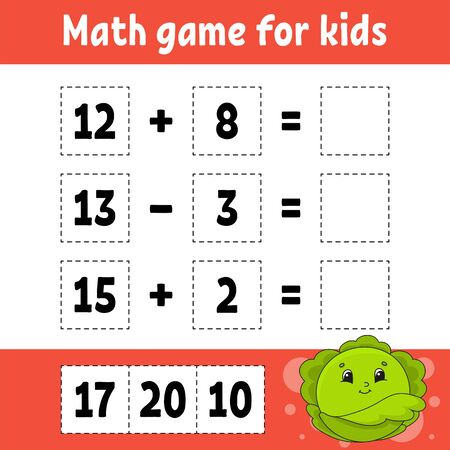 Math game for kids. Education developing worksheet. Activity page with pictures. Game for children. Color isolated vector illustration. Funny character. Cartoon style. Ilustración de vector