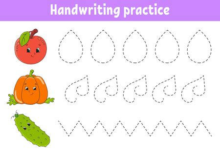 Handwriting pactice. Education developing worksheet. Activity page. Fruits and vegetables. Color game for children. Isolated vector illustration. Cartoon character.