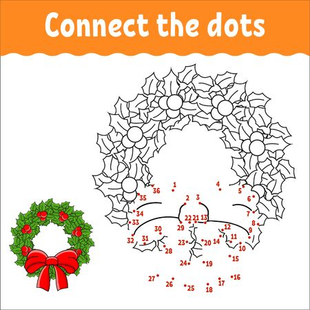 Dot to dot game. Draw a line. Christmas wreath of holly leaves and berries decorated with a bow. For kids. Activity worksheet. Coloring book. With answer. Cartoon character.