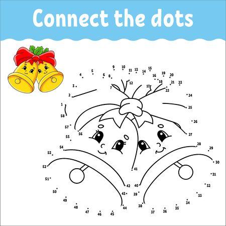 Juego de punto a punto. Dibuja una línea. Campanas de Navidad con hojas de acebo y lazo. Para niños. Hoja de actividades. Libro de colorear. Con respuesta. Personaje animado.