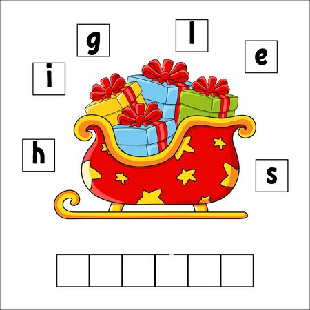 Words puzzle. Sleigh. Education developing worksheet. Learning game for kids. Activity page. Puzzle for children. Riddle for preschool. Vector illustration in cute cartoon style.