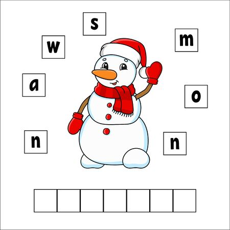 Words puzzle. Snowman. Education developing worksheet. Learning game for kids. Activity page. Puzzle for children. Riddle for preschool. Vector illustration in cute cartoon style.