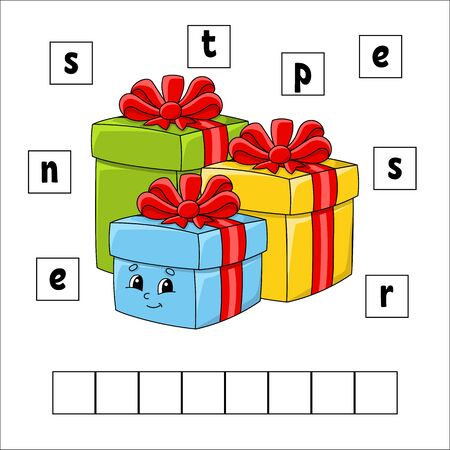 Words puzzle. Presents. Education developing worksheet. Learning game for kids. Activity page. Puzzle for children. Riddle for preschool. Vector illustration in cute cartoon style.