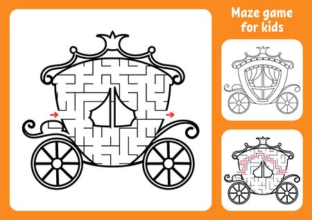 Abstract maze. Magic carriage. Game for kids. Puzzle for children. Labyrinth conundrum. Find the right path. Education worksheet. With answer.