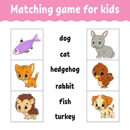 Matching game for kids. Find the correct answer. Draw a line. Learning words. Activity worksheet. Cartoon character. Illusztráció