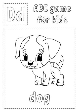 ABC game for kids. Alphabet coloring page. Cartoon character. Word and letter.