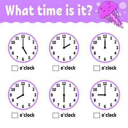 Learning time on the clock. Educational activity worksheet for kids and toddlers. Game for children. Simple flat isolated color  illustration in cute cartoon style.
