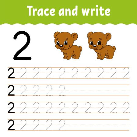 Trace and write. Handwriting practice. Learning numbers for kids. Education developing worksheet. Color activity page. Illustration in cute cartoon style.