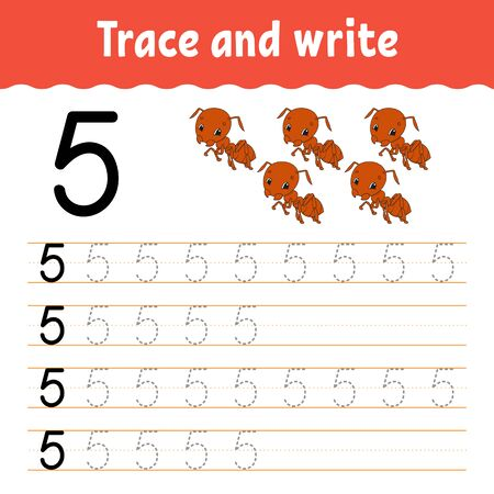Trace and write. Handwriting practice. Learning numbers for kids. Education developing worksheet. Color activity page. Isolated vector illustration in cute cartoon style. Illustration