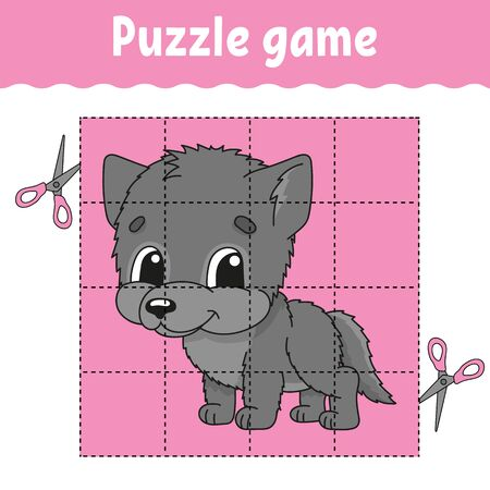 Puzzle game for kids. Education developing worksheet. Learning game for children. Color activity page. For toddler. Riddle for preschool. Isolated vector illustration in cartoon style.