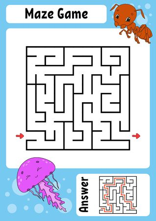 Square maze. Game for kids. Funny labyrinth. Education developing worksheet. Activity page. Puzzle for children. Cartoon style. Riddle for preschool. Logical conundrum. Color  illustration. Ilustração
