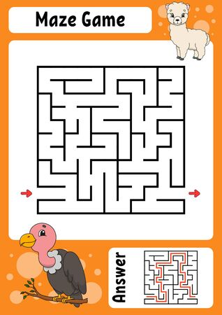 Square maze. Game for kids. Funny labyrinth. Education developing worksheet. Activity page. Puzzle for children. Cartoon style. Riddle for preschool. Logical conundrum. Color  illustration Illustration