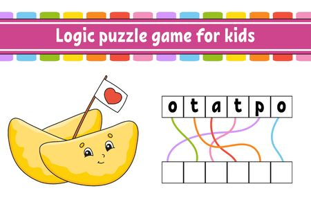Logic puzzle game. Learning words for kids. Find the hidden name. Worksheet, Activity page. English game.  Cartoon character.