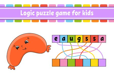 Logic puzzle game. Learning words for kids. Find the hidden name. Worksheet, Activity page. English game. Cartoon character. Ilustración de vector
