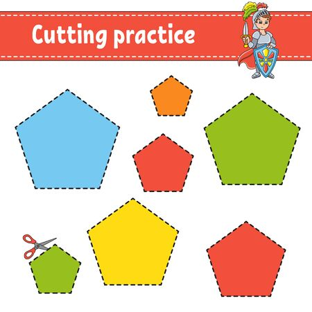Cutting practice for kids. Education developing worksheet. Activity page with pictures. Color game for children. Funny character. Cartoon style.