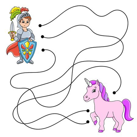 Easy maze. Labyrinth for kids. Activity worksheet. Puzzle for children. Cartoon character. Logical conundrum. Color vector illustration.