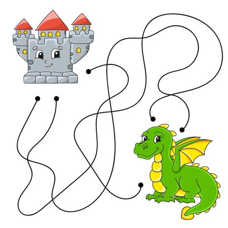 Easy maze. Labyrinth for kids. Activity worksheet. Puzzle for children. Cartoon character. Logical conundrum. Color illustration.