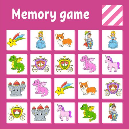 Memory game for kids. Education developing worksheet. Activity page with pictures. Puzzle game for children. Logical thinking training.  Cartoon style. Ilustração