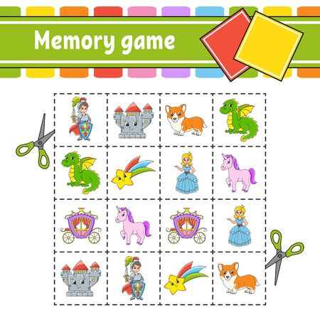 Memory game for kids. Education developing worksheet. Activity page with pictures. Puzzle game for children. Logical thinking training. Cartoon style.