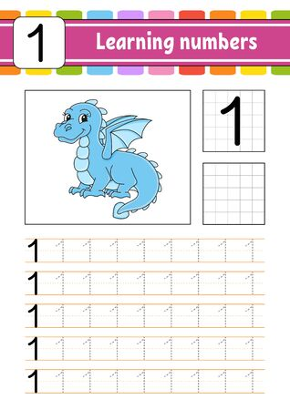 Trace and write. Handwriting practice. Learning numbers for kids. Education developing worksheet. Activity page. Illustration in cute cartoon style. Illustration