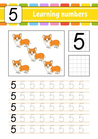 Trace and write. Handwriting practice. Learning numbers for kids. Education developing worksheet. Activity page. Isolated vector illustration in cute cartoon style. Illustration