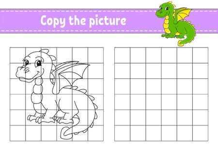 Copy the picture. Coloring book pages for kids. Education developing worksheet. Game for children. Handwriting practice. Cartoon character. Ilustração