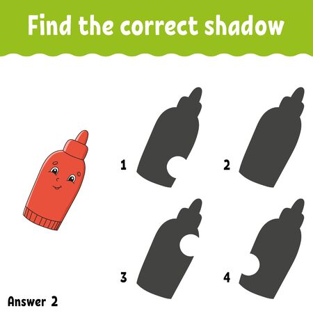 Find the correct shadow. Education developing worksheet. Matching game for kids. Activity page. Puzzle for children. Cartoon character.