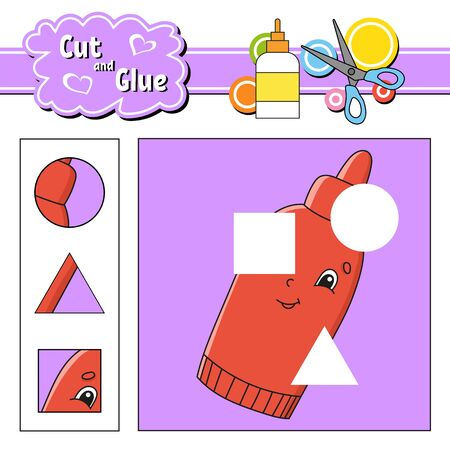Cut and glue. Game for kids. Education developing worksheet. Cartoon character. Color activity page. Hand drawn. Isolated vector illustration. Stock fotó - 150525800