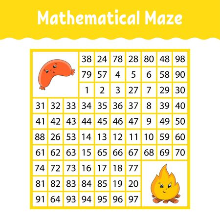 Mathematical square maze. Game for kids. Number labyrinth. Education worksheet. Activity page. Puzzle for children. Cartoon characters. Color  illustration.