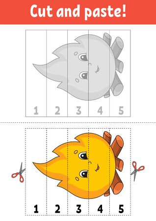 Learning numbers 1-5. Cut and glue. Cartoon character. Education developing worksheet. Game for kids. Activity page. Color  illustration. Illustration