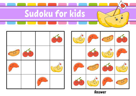 Sudoku for kids. Education developing worksheet. Cartoon character. Color activity page. Puzzle game for children. Logical thinking training.