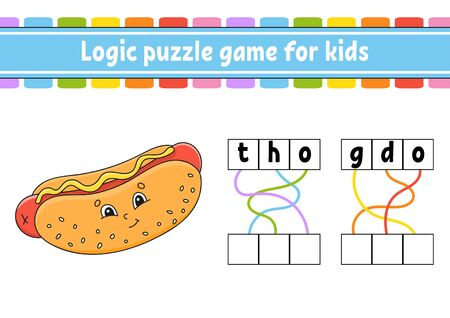 Logic puzzle game. Learning words for kids. Find the hidden name. Worksheet, Activity page. English game.   Cartoon character. Ilustração