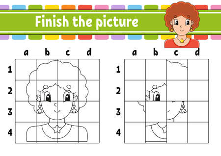 Finish the picture. Coloring book pages for kids. Education developing worksheet. Game for children. Handwriting practice. Cartoon character.
