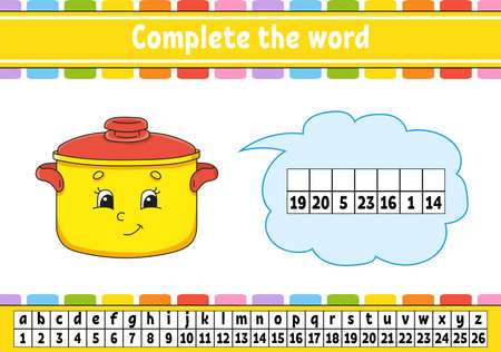 Complete the words. Cipher code. Learning vocabulary and numbers. Education worksheet. Activity page for study English.