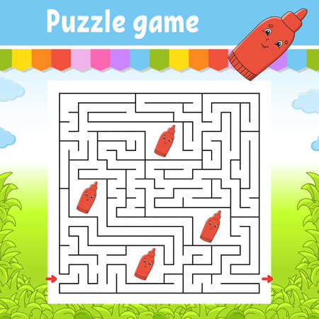Square maze. Game for kids. Puzzle for children. Labyrinth conundrum. Color illustration. Find the right path. Isolated vector illustration. Cartoon character. Illustration