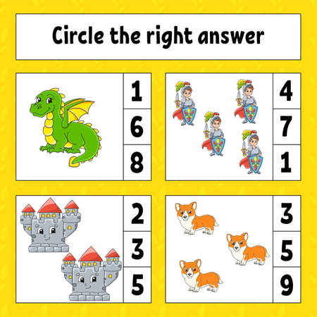 Circle the right answer. Education developing worksheet. Activity page with pictures. Game for children. Color isolated illustration. Funny character. Cartoon style.
