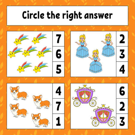 Circle the right answer. Education developing worksheet. Activity page with pictures. Game for children.