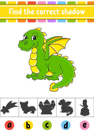 Find the correct shadow. Education developing worksheet. Activity page. Color game for children.