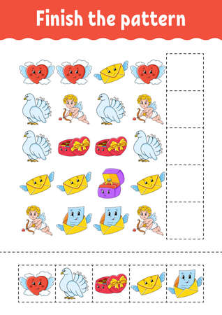 Finish the pattern. Cut and play. Education developing worksheet. Activity page. Valentine's Day. Cartoon character.