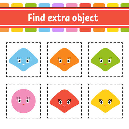 Find extra object. Educational activity worksheet for kids and toddlers. Game for children. Happy characters.