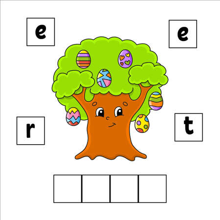 Words puzzle. Education developing worksheet. Learning game for kids. Activity page. Puzzle for children. Riddle for preschool. Vecteurs